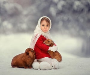 girl, rabbit, and red image