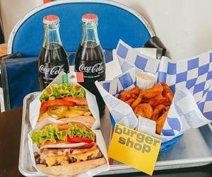 bar, burger, and coca cola image