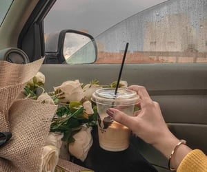 coffee, flowers, and aesthetic image