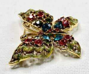 etsy, rhinestones, and butterfly brooch image
