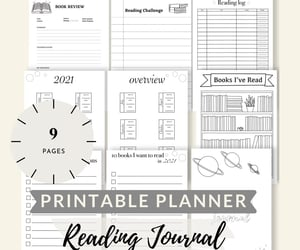 bookworm, printable planner, and book tracker image