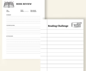 bookworms, printable planner, and book tracker image
