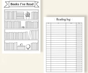 etsy shop, printable planner, and reading journal image