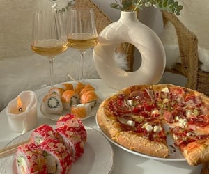 food, breakfast, and pizza image