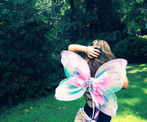 girl, fairy, and butterfly image
