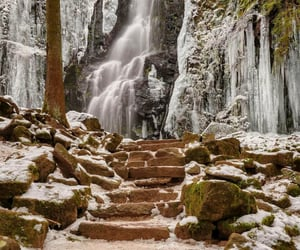 nature, stairs, and waterfall image
