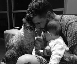 b&w, cat, and kid image