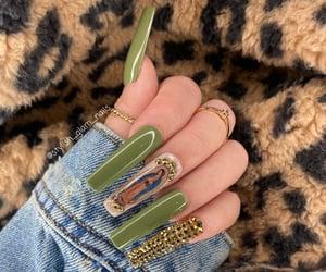 nail polish, rhinestones, and nails image