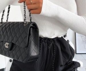 black & white, joggers, and chanel bags image