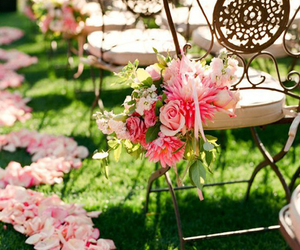 flowers, wedding, and chair image