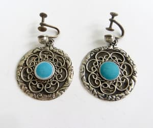 screw back earrings, vintage sterling, and mexico silver image