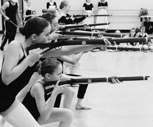 gun, ballet, and black and white image