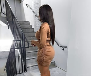 brown dress, brown skin, and hourglass image