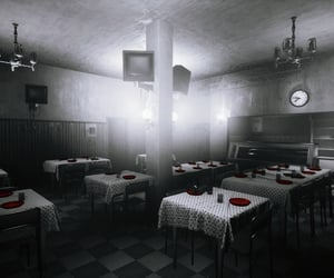 black and white, dining room, and dystopian image