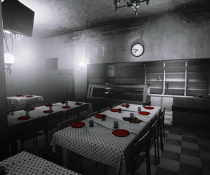 dining room, dystopian, and empty image