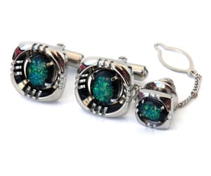 mens set, tie tack pin set, and fake opal jewelry image