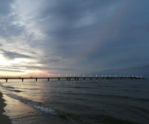 beach, ocean, and pier image
