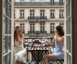 balcony, blue, and girls image