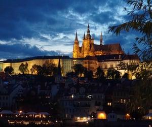 city, night, and prague image