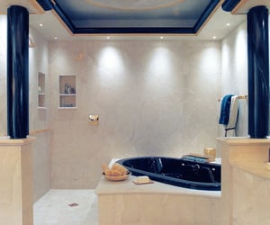 bathroom, white, and blue image