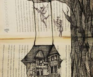 book, drawing, and tree image