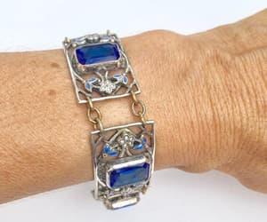 etsy, vintage bracelet, and blue glass bracelet image