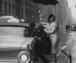 rain, black and white, and couple image