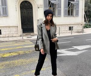 bodysuit, grey blazer, and blogger image