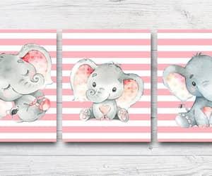 etsy, elephant stickers, and girl nursery decor image