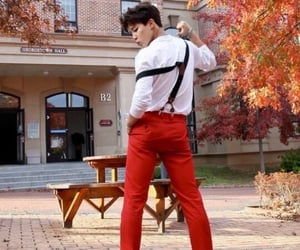 ass, brown, and suspenders image