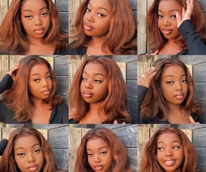 brown hair, melanin makeup, and golden hour image
