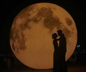 couple, moonlight, and love image