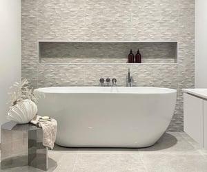bathroom, bathtub, and decor image