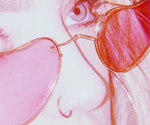 aesthetic, heart glasses, and pink theme image