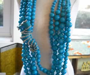 beaded necklace, blue necklace, and statement jewelry image