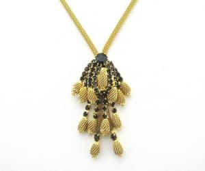 rhinestone necklace, vintage necklace set, and black rhinestone image