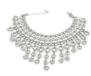 bridal jewelry, waterfall necklace, and crystal necklace image