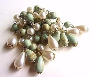 sage green, pastel pearl brooch, and dangle brooch image