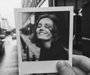girl, black and white, and polaroid image