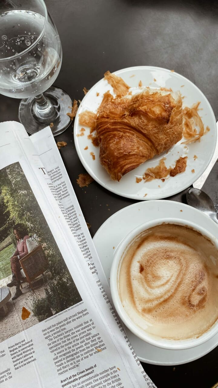 cappuccino, coffee, and croissant image