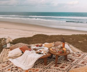 beach, food, and picnic image
