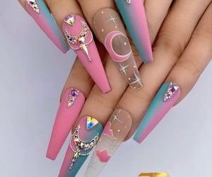 blue nails, long nails, and pink nails image