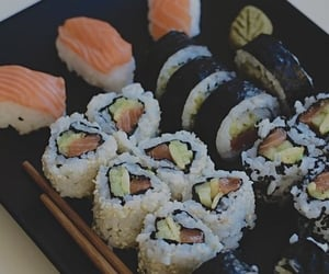chopsticks, japanese, and salmon image