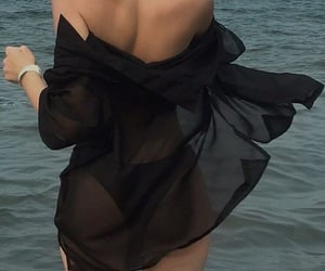 beach, black, and dress image