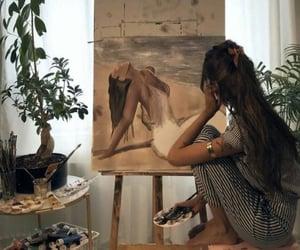 art, women, and beach painting image