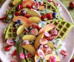 dessert, waffles, and matcha image