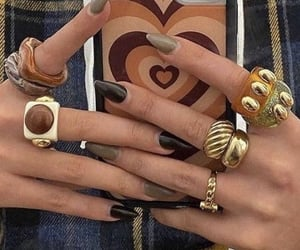 gold rings, nailspo, and stylé image