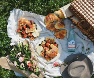 food, flowers, and picnic image