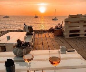 sunset, wine, and beach image