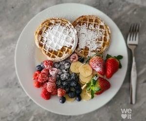 food, waffles, and cake image